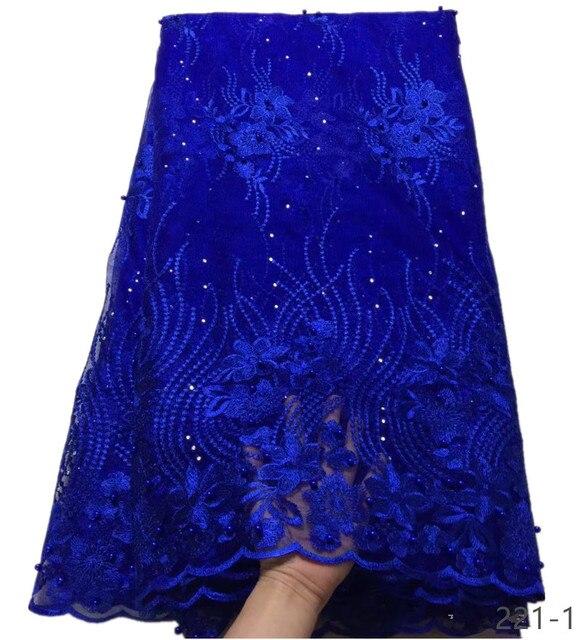 האחרון רויאל בלו טול תחרה בד באיכות גבוהה אירופה ואמריקאי אופנה בד עם חרוזים אבן צרפתית תחרה בדים 221