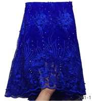 Latest Royal Blue Tulle Lace Fabric High Quality Europe And American Fashion Fabric With Beads Stone French lace Fabrics 221