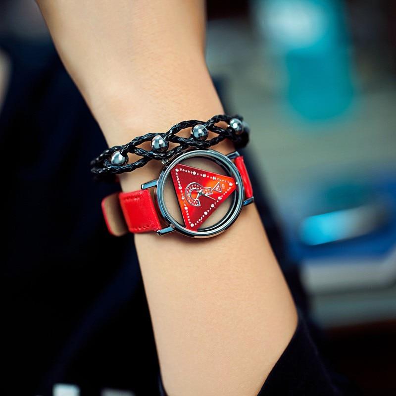 Triángulo esqueleto del reloj de las mujeres de moda delicado transparente correa de cuero hueco reloj de pulsera de cuarzo reloj relogio feminino