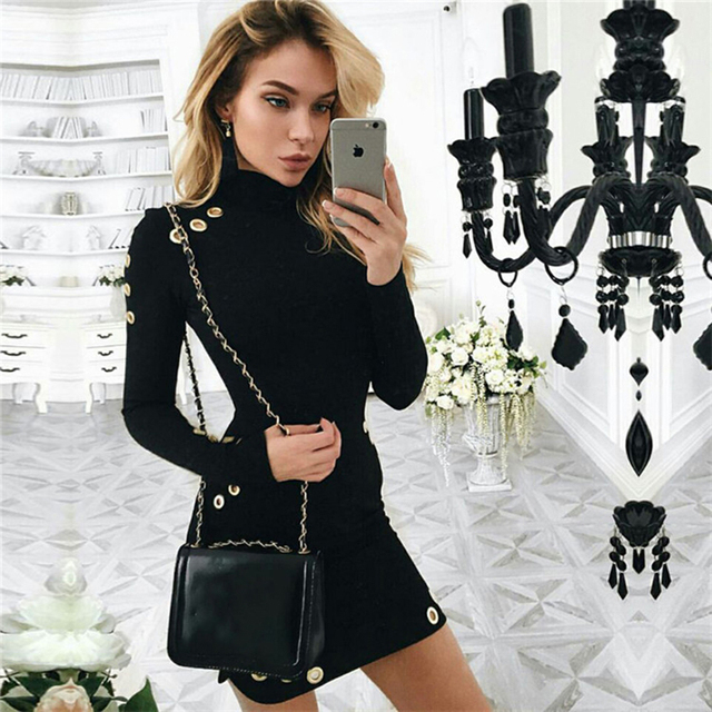 2018 Spring Summer New Women Long Sleeve Sexy Black Mini Dress Package Hip Eyelet Bandage Dress High-Necked Casual Party Dress