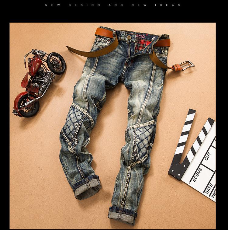 e320e0c1 ... LetsKeep 17 New patchwork Denim jeans for men biker skinny ripped jeans  punk mens plaid Designer ...