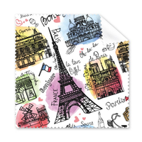 5 Pcs Class Building France Landmark Flag Architecture Landscape Illustration Glasses Cloth Cleaning Cloth Phone Screen