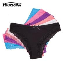 6 Pcs/set Womens Panties Sexy Lace Cotton Briefs Solid Color Low Rise Knickers Plus Size Girls Underwear Ladies Lingerie M L XL