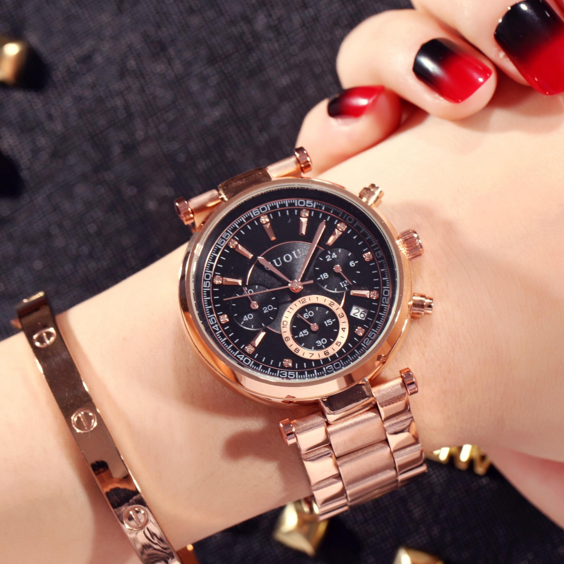 2018 TOP GUOU Brand Fashion Real 3 Eyes Work Rose Gold Steel Quartz Women Ladies Wrist Watch Bracelet Calendar Japan Movt Clock