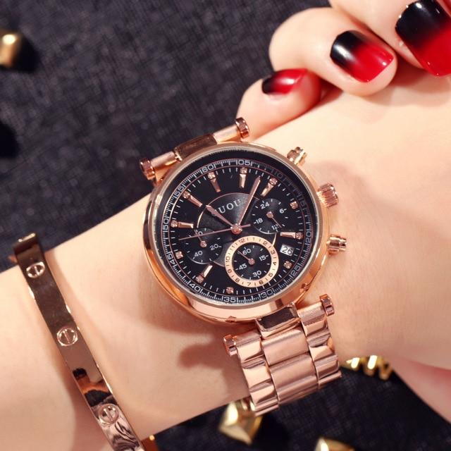 6de609aea029 2018 TOP GUOU Brand Fashion Real 3 Eyes Work Rose Gold Steel Quartz Women  Ladies Wrist