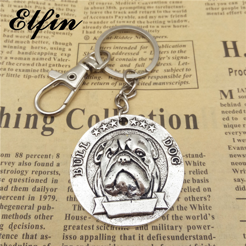 Elfin Trendy French Bulldog Keychains Antique Silver Antique Bronze English Bulldog Key Chains Keyrings Animal Pet Dog Jewellery