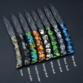 8 Colors Ghillie Colorful Folding Knife 18cm Length Plastic Handle Fruit Knife Stainless Steel Blade Portable Tool