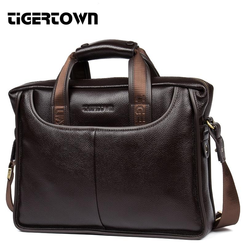 Brand TigerTown Men's Handbag Cowhide 100% Genuine Cow Leather Shoulder Laptop Hand Bag Briefcase Purse Business Messenger 14