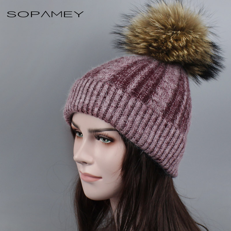 Real Natural Fur Raccoon pompom Hat Female Warm Wool Women's Cap twist-type Knitted for Girls Winter Hats 2017 Skullies Beanies autumn winter beanie fur hat knitted wool cap with raccoon fur pompom skullies caps ladies knit winter hats for women beanies