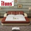 Nombre: ifuns lujo moderno diseño de muebles de dormitorio king y queen size cama de cuero genuino con almacenamiento de tatami y doble marco de la cama