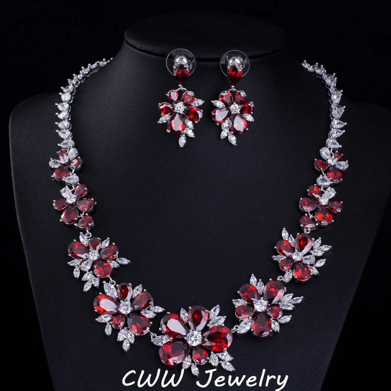 CWWZircons Blue CZ Bridal Jewelry Big Cubic Zirconia Stone Flower ...