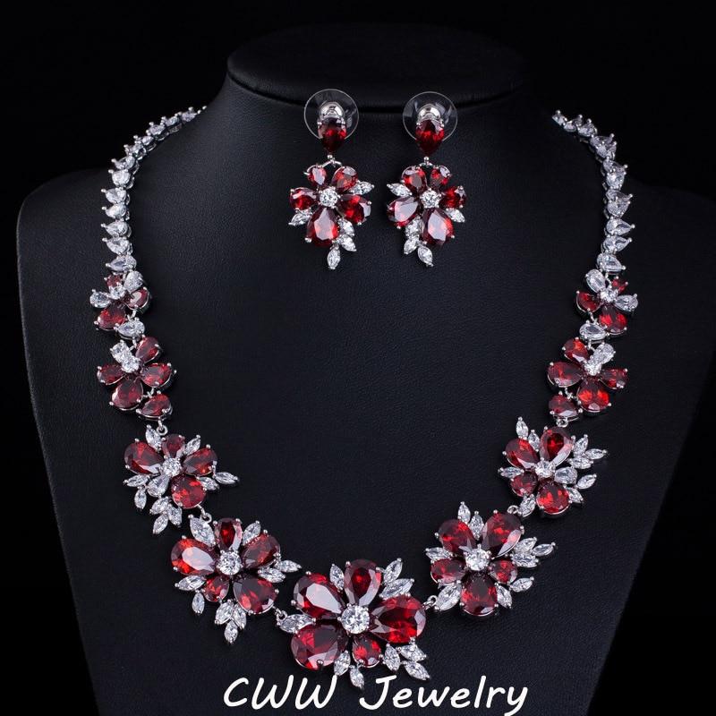 Cwwzircons Blue Cz Bridal Jewelry Cubic Zirconia Stone Flower Wedding Choker Necklace Earrings Sets For Women T153 In From