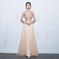FOLOBE Sexy See Through Dresses Long V Neck Appliques Beads Tulle Gown Party Dresses Elegant Floor length Party Dress