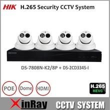 Hik Full HD H.265 Security Camera System NVR DS-7808N-K2/8P and 4MP Camera DS-2CD3345-I CCTV Surveillance Camera Kit