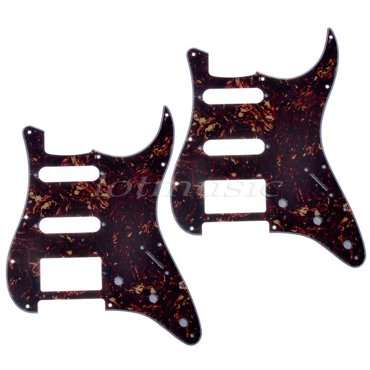 2*US Standard Pickguard,Dark Brown Tortoise Shell Scratch Plate,HSS For Strat Style Guitar Replacement sg standard full face guitar pickguard scratch plate zebra stripe with screws