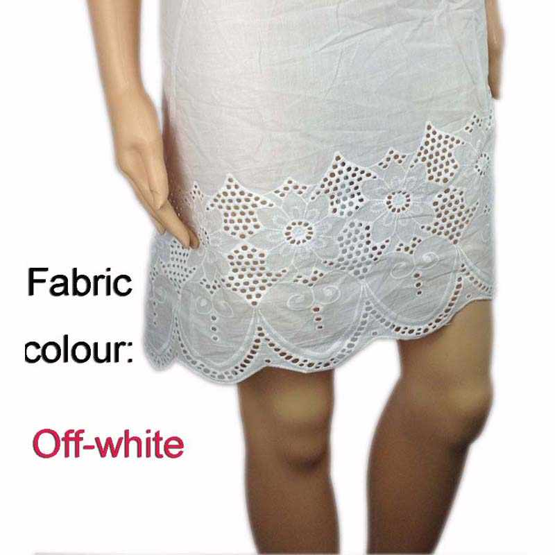 Afrikanische Baumwolle Voile Öse Spitze Stoff für Kleid, Off-White Schweizer Bekleidung Nähen Tissus Patchwork Diy Materialien, breite 130 cm
