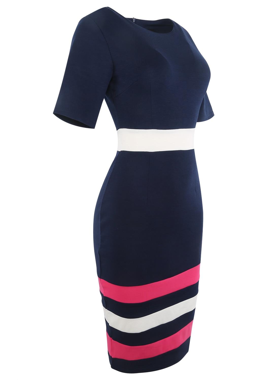 Oxiuly Dunkelblaues Kleid Tunika Frauen Formelle Arbeit Büro Scheide - Damenbekleidung - Foto 4