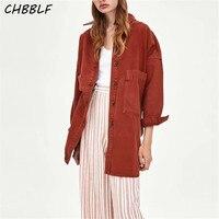 CHBBLF women stylish red blouses pockets long sleeve basic shirts ladies casual wear top blusas POP1405