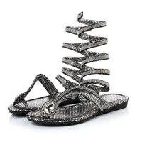 2017 Crystal S Women Sandals Hot Fashion Snake Design Summer Thong Flat Gladiator Sandal Ankle Wrap