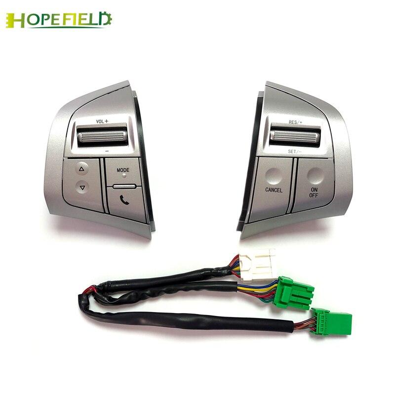 Silver Steering Wheel Button Volume Audio Bluetooth Phone Cruise Control Speed Switch For Isuzu MU X
