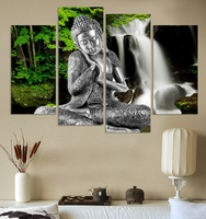 4 Panel Abstract Printed Buddhism Lord Buddha Painting Canvas Art Buda Picture Paintings Cuadros For Living Room Unframed FX021