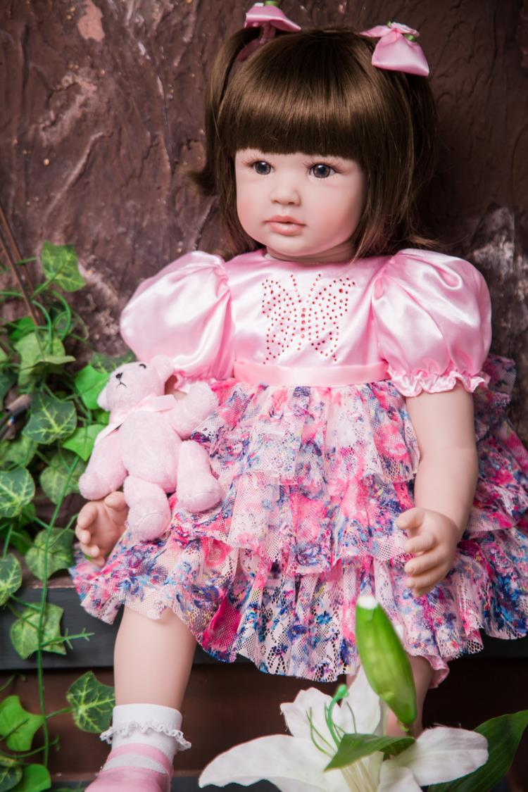 Pursue 24/60 cm Lifelike Toddler Princess Girl Doll Silicone Reborn Baby Dolls Toys for Children Girls Adorable in Pink Dress short curl hair lifelike reborn toddler dolls with 20inch baby doll clothes hot welcome lifelike baby dolls for children as gift
