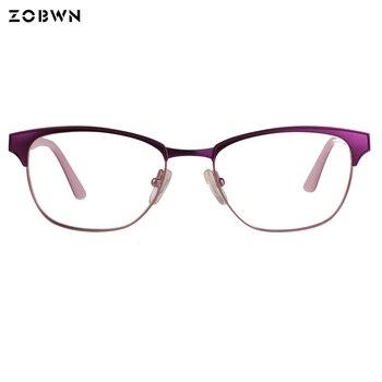 ZOBWN מכירת Hot gafas מסגרות משקפיים מחשב העין כיכר מתכת משקפיים מסגרות גברים נשים לשני המינים אנטי כחול אופטי משקפיים הדפסה