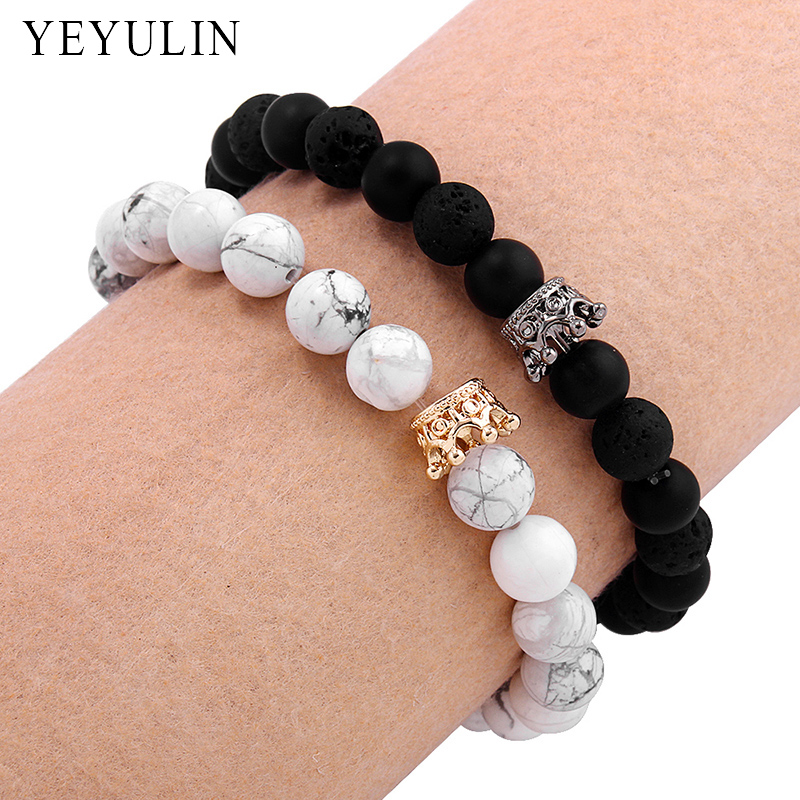 Trendy Black White Stone Beads with Gold Silver Color Alloy Crown ...