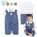 Детский комбинезон baby boy с коротким рукавом синий горошек галстук-бабочку комбинезон младенческой малыша господа лето хлопок школа стиль одежды