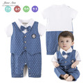Rompers baby boy short sleeve blue polka bow tie jumpsuit infant toddler gentlemen summer cotton school style clothes
