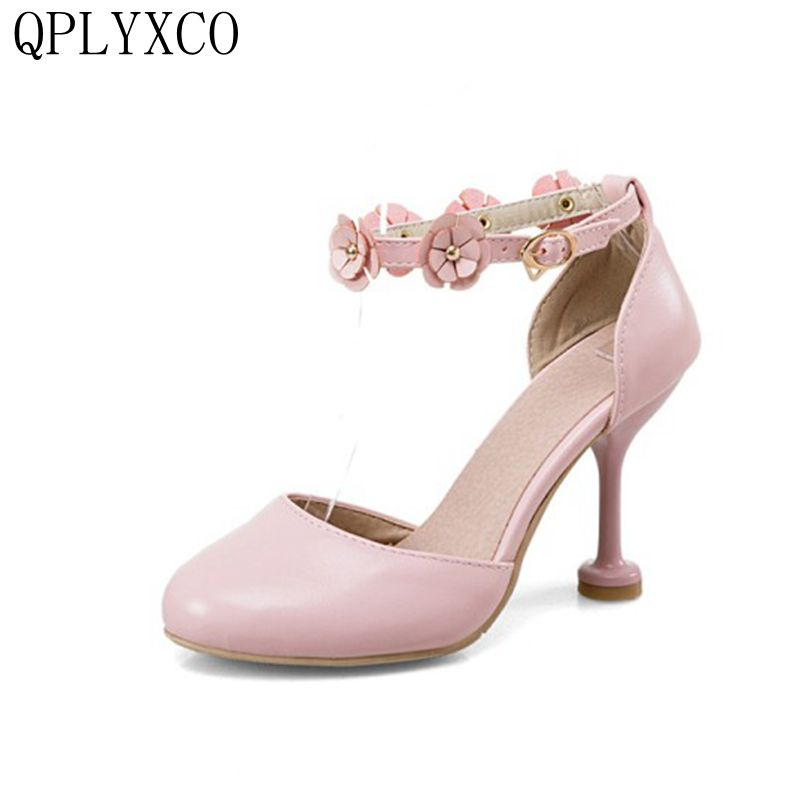 QPLYXCO New sweet Fashion Big Size 34- 43 Summer Sandals women stlye Dress High Heels Party wedding Shoes Woman Pumps 27-5 ziairanao summer slides transparent women sandals 15 17 20 cm party wedding high heels 10 cm platform shoes woman big size pumps