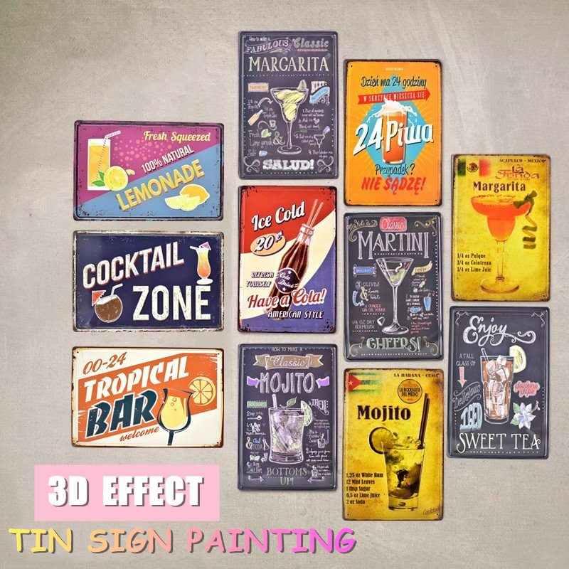 00-24 Tropical Bar Poster Vintage Tin Signs Metal Plate Pub Bar Art Wall Decor
