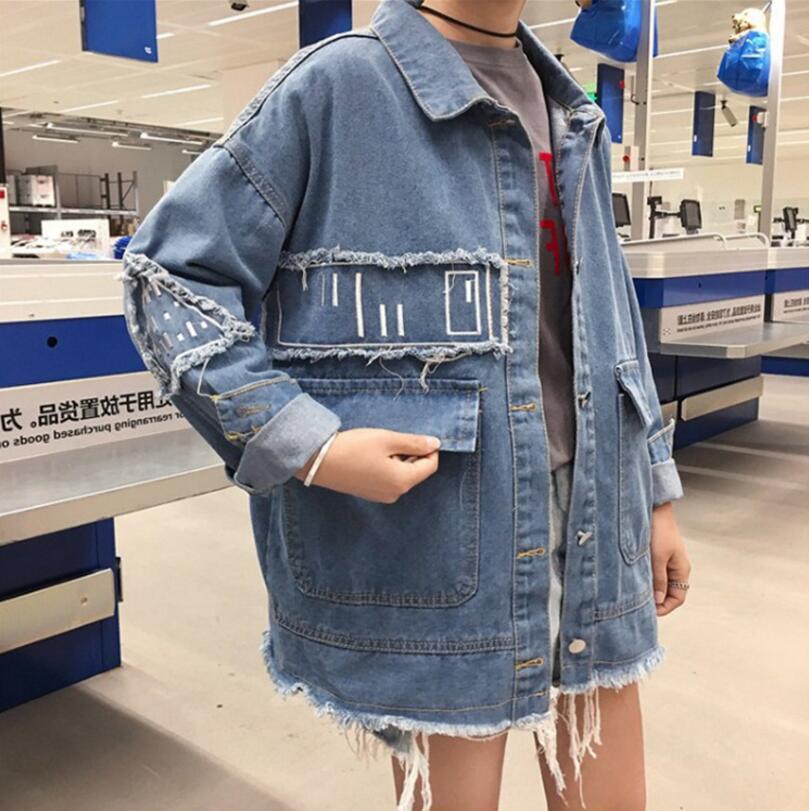 2018 Women Basic Coat Denim Jacket Women spring Harajuku style loose embroidery Jacket For Women Jeans Jacket Female Outerwear
