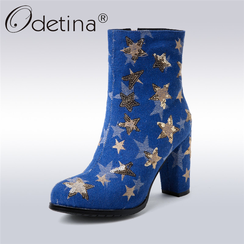 Odetina 2018 New Fashion Denim Ankle Boots For Women Zipper High Heels Round Toe bling Shoes Ladies Square Heel Big Size 33-43 new arrival women ankle boots square heel shoes women fashion footwear comfortable new designers zipper western ladies zapatos