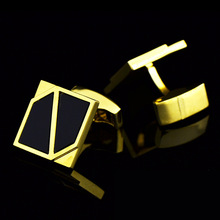 цены Bridegroom Wedding Party Business Men French Shirts Cuff Links Black Glass Geometric Cufflinks Golden Cufflink With Gift Bag