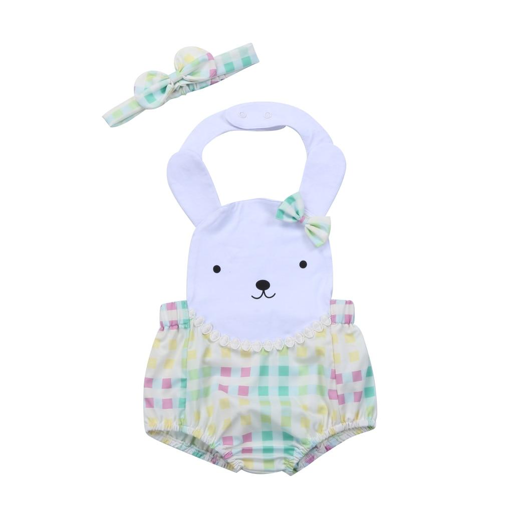Cartoon Bunny Kid Baby Girls   Romper   Halter Backless Rabbit Baby Jumpsuit Summer Clothing