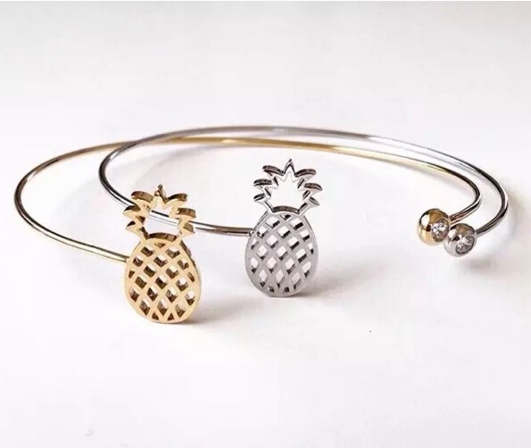 Fashion copper high quality rhinestone pineapple gem accessories wire cuff bangles charm bracelets for women men