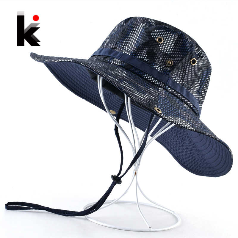 Summer Wide Brim Sun Hats Men Women Anti-UV Visor Caps Outdoor Camouflage Cap Fishing Hunting Breathable Mesh Chapeu masculino