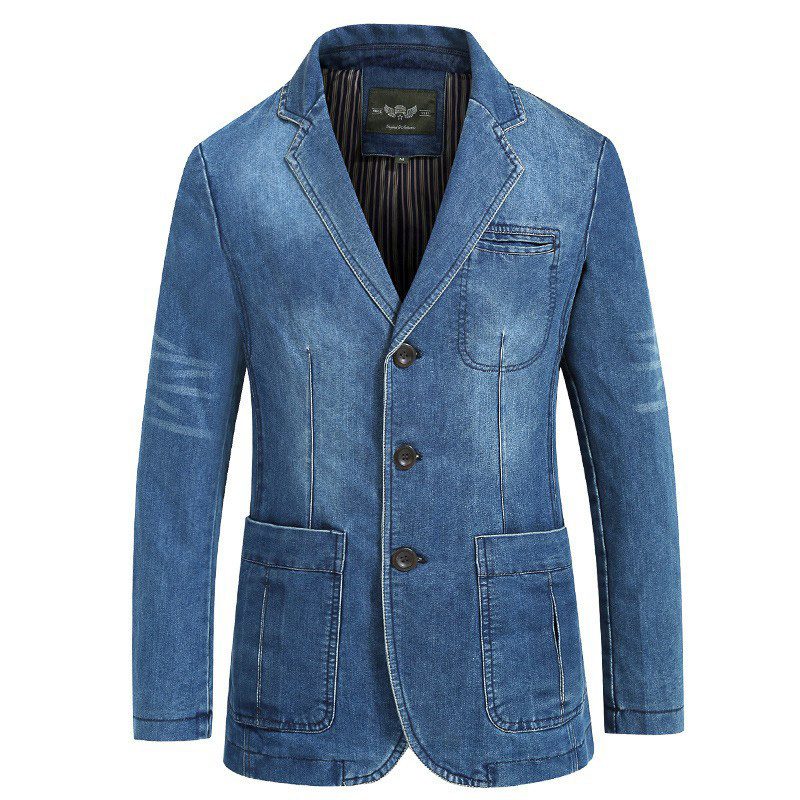 Brand Denim Jacket Men Autumn Blazer Jacket Slim Fit Military Jacket Single Breasted Turn-down Collar Jeans Coat Plus Size XXXXL