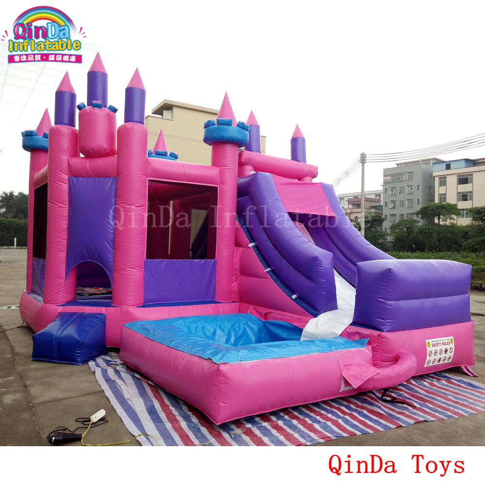 6.5*5*5m inflatable jumping house for kids play, inflatable princess castle with slide and pool 2017 popular inflatable water slide and pool for kids and adults