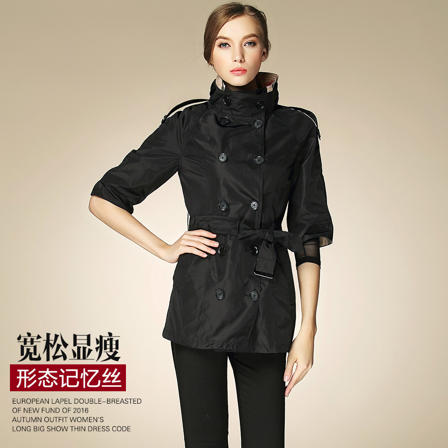 2017 New spring Autumn Trench Coat For Women Double Breasted Trench Coat Long Sashes hal ...