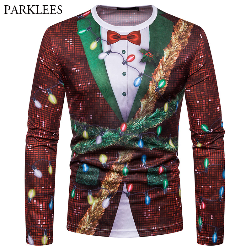 Fake Shiny Sequin Long Sleeve Christmas T Shirt Men 2018 Fashion 3D Fake Two Piece T-shirt Male Xmas Party Prom Tee Shirt Homme