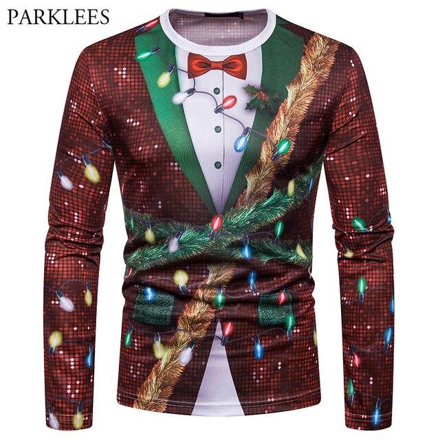 Fake Shiny Sequin Long Sleeve Christmas T Shirt Men 2018 Fashion 3d