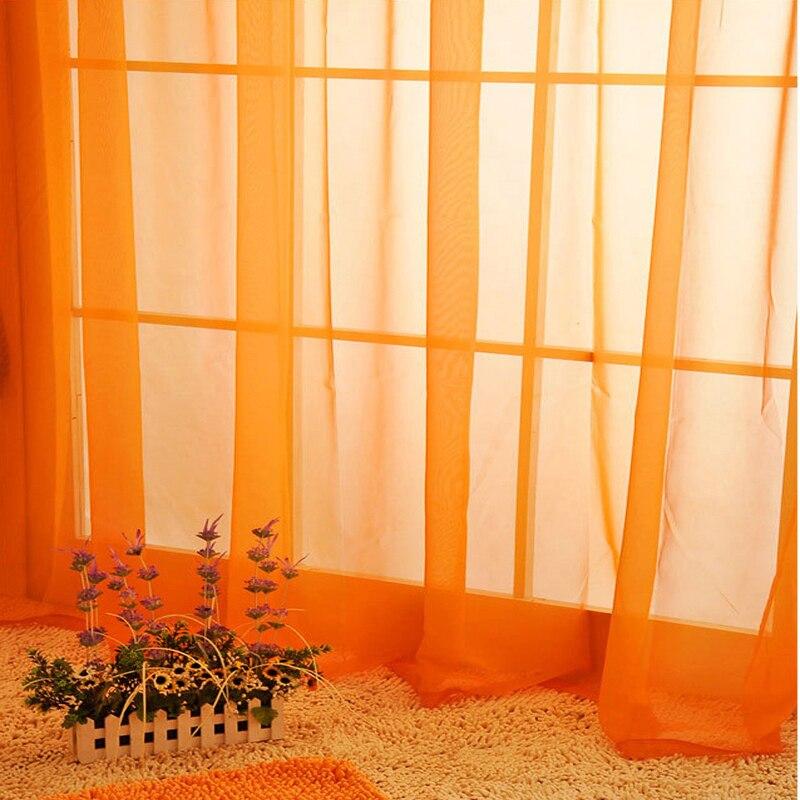 Witte gordijnen Sheer garen tulle Oranje Gordijnen scheidingswand ...