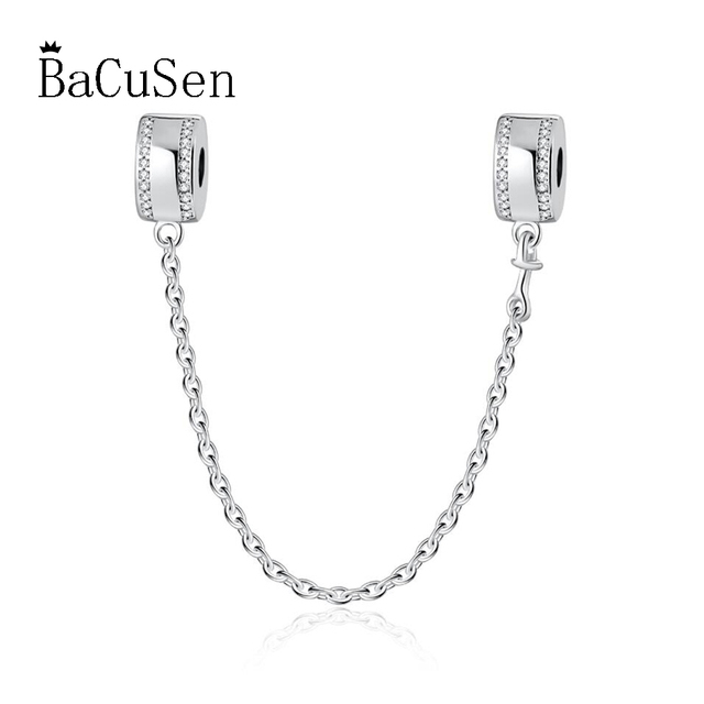 2cd2df974 For Women DIY Jewelry Making Fit Pandora Bracelet Bangle Crystal Safety  Chain Clip Stopper Charms Authentic 925 Sterling Silver