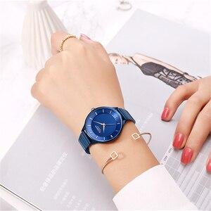 Image 5 - CURREN reloj con diamantes de imitación para mujer, pulsera de acero inoxidable, de cuarzo, femenino, 2018