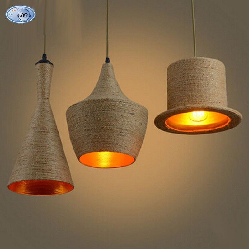 ФОТО Creative Loft Hemp Rope Shade Home Modern Dining Room Bar Shade Ceiling Hat Light Pendant Lamp Lighting