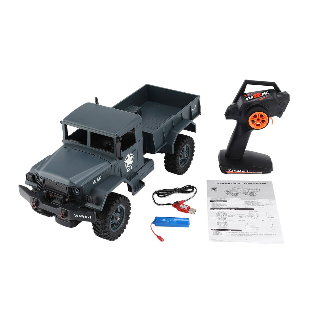 WLtoys 124301 2.4Ghz 1/12 4WD Off-road RC Military Truck Vehicle RC Car Remote Control Truck Model Toys Hobby for Kids Adults rc car amphibious rock crawler car 4wd 2 4g dual motor waterproof monster truck remote control off road vehicle toys kids hobby