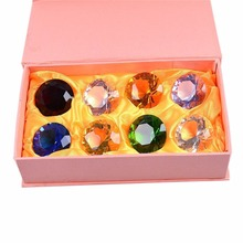 8 PCS Multi Color Crystal Diamond Paperweight Birthstone Christmas Ornaments Multicolor Gift Box