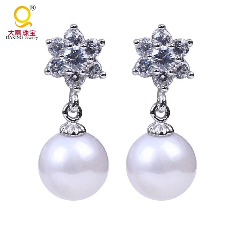 Parfaite ronde 8.5-9mm perle d'eau douce boucle d'oreille 925 argent lisse lustre 100% vraie perle d'eau douce pour bijoux de boucle d'oreille de mariée